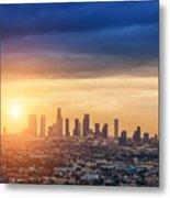 Sunrise Over Los Angeles City Skyline Metal Print