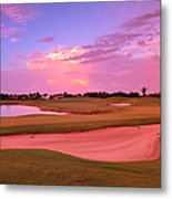 Sunrise View Of A Resort On A Golf Metal Print