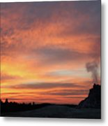 Sunset 0ver White Dome Geyser Metal Print