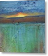 Sunset - Abstract Landscape Painting Metal Print