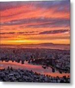 Sunset Explosion Over Lake Merritt Metal Print
