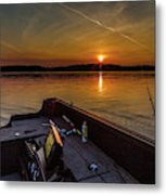 Sunset Fishing Dog Lake Metal Print