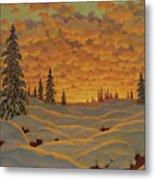 Sunset In Finland  Metal Print