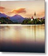Sunset On Lake Bled Metal Print