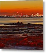 Sunset On The Still Frozen Upper Niagara River Metal Print