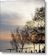 Sunset Scene Of Tree Branches And People Silhouettes Metal Print