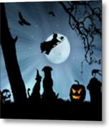 Super Cute Halloween Night With Dog And Cat Metal Print