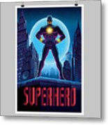 Superhero In Action. Superhero In The Metal Print