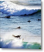 Surfing At Southern End Of Bondi Beach Metal Print