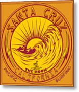 Surfing Santa Cruz California Steamer Lane Metal Print