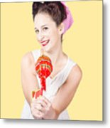 Sweet Lolly Shop Lady Offering Over Red Lollipop Metal Print