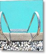 Swimming Pool With White Pebbles Metal Print