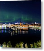 Swirly Aurora Over Stockholm And Gamla Stan Metal Print