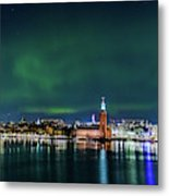 Swirly Aurora Over The Stockholm City Hall And Kungsholmen Metal Print