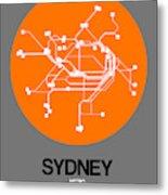 Sydney Orange Subway Map Metal Print