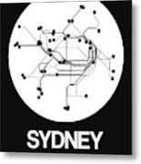 Sydney White Subway Map Metal Print