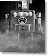 Take Me To Your Leader Vintage Tin Toy Robot Black And White Metal Print