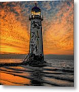 Talacre Beach Lighthouse Sunset Metal Print