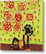 Tarot Of The Younger Self Eight Of Pentacles Metal Print