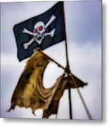 Tattered Sail And Pirate Flag Metal Print