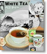 Tea Collage With Brush  Metal Print