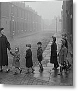 Teacher And Pupils In Manchester Metal Print