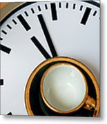 Teacup On A Clock Metal Print