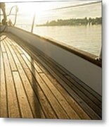 Teak Deck Of 62 Ft Sailboat Metal Print