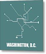 Teal Washington, D.c. Subway Map Metal Print