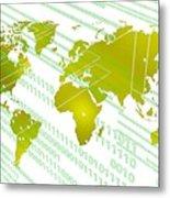 Tech Worldmap With Binary Code Metal Print