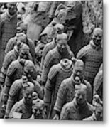 Terra Cotta Warriors In Black And White, Xian, China Metal Print