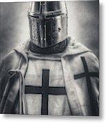 Teutonic Knight Black And White Metal Print