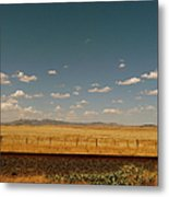 Texan Desert Landscape And Rail Tracks Metal Print