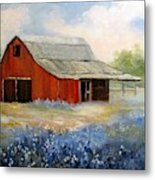 Texas Blue Bonnets And Red Barn Metal Print