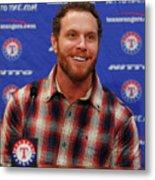 Texas Rangers Introduce Josh Hamilton Metal Print