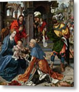 The Adoration Of The Magi With Donor  Metal Print
