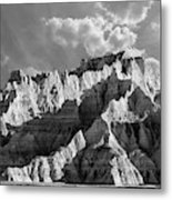 The Badlands In Black And White Metal Print
