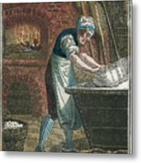 The Baker Kneading Dough On The Lid Metal Print