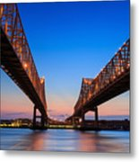The Crescent City Connection Bridge On Metal Print