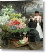 The Flower Vendor On The Quays In Paris Metal Print