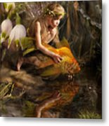 The Girl Releases A Gold Fish Metal Print