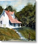 The l Little White Cottage on Limerick Lane Metal Print