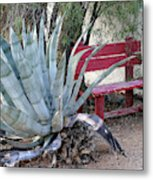 The Little Red Bench Metal Print