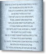 The Man In The Glass Poem - Blue Grey Metal Print