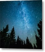 The Milky Way Rises Over The Pine Trees Metal Print