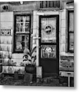 The Old Country Store Black And White Metal Print
