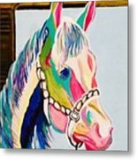 The Pink Horse Metal Print