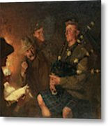 The Pipes By Firelight Metal Print