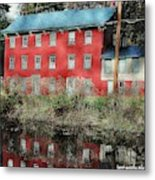 The Red House Along The Autumn Canal Metal Print