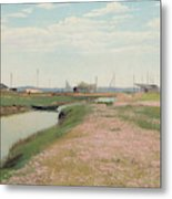 The River And The Harbour At Frederiksvaerk Metal Print